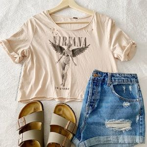 Nirvana In Utero Cropped + Distressed Tee